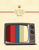 Retro movie poster design with retro text, old tv, and old camera icon.