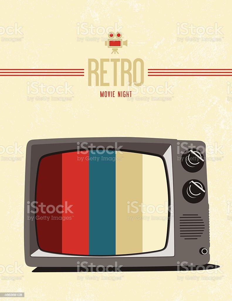 Retro tv movie poster design vector art illustration