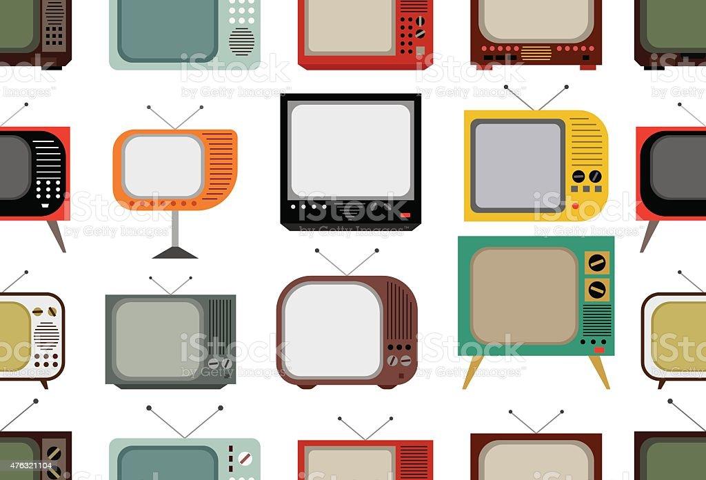 Retro tv pattern vector art illustration