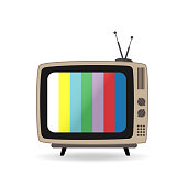 istock Retro tv set with antenna and stripes on the screen. Vintage style. Flat vector illustration isolated on white background. 1178889512