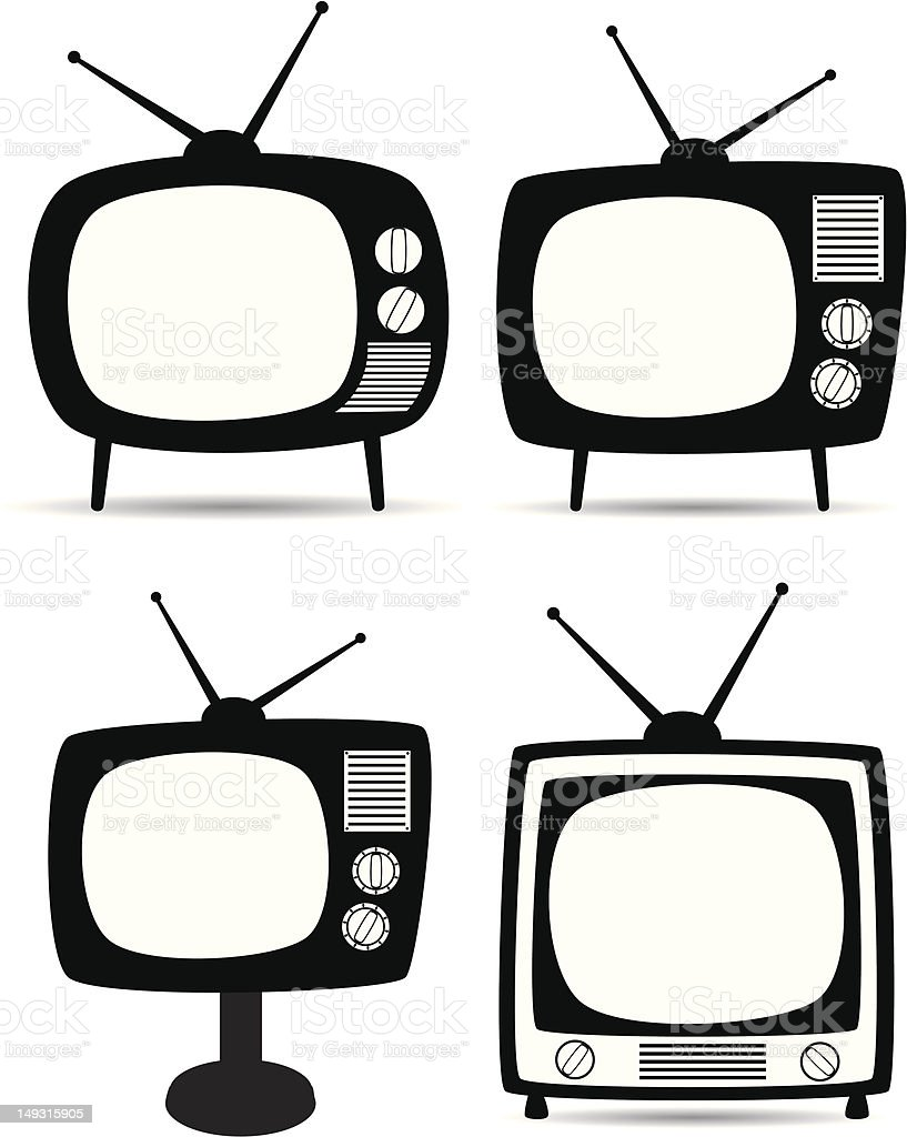 tv clipart black and white. retro tv sets vector image in black and white royalty-free stock art tv clipart