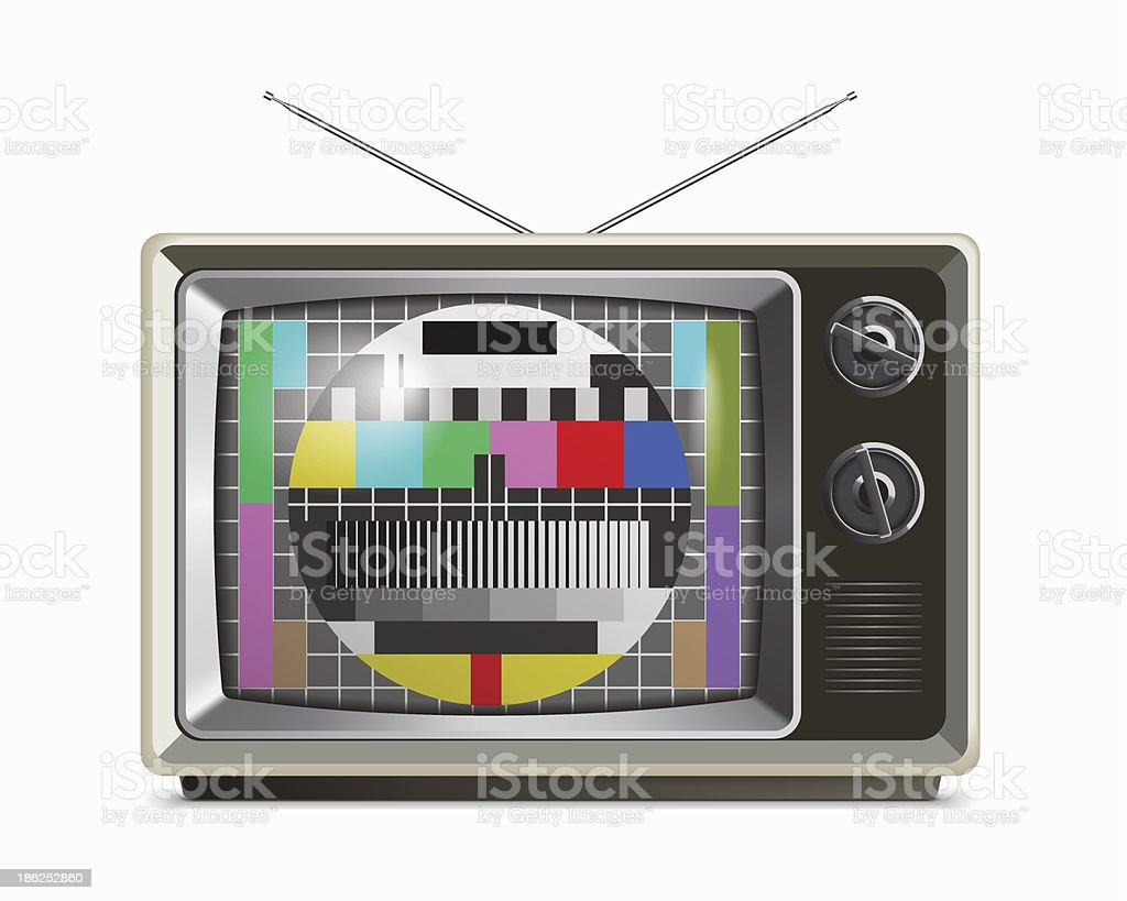 Retro TV with test screen vector art illustration