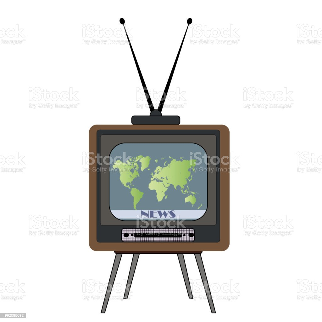 Retro Tv With World Map Vector Stock Illustration - Download