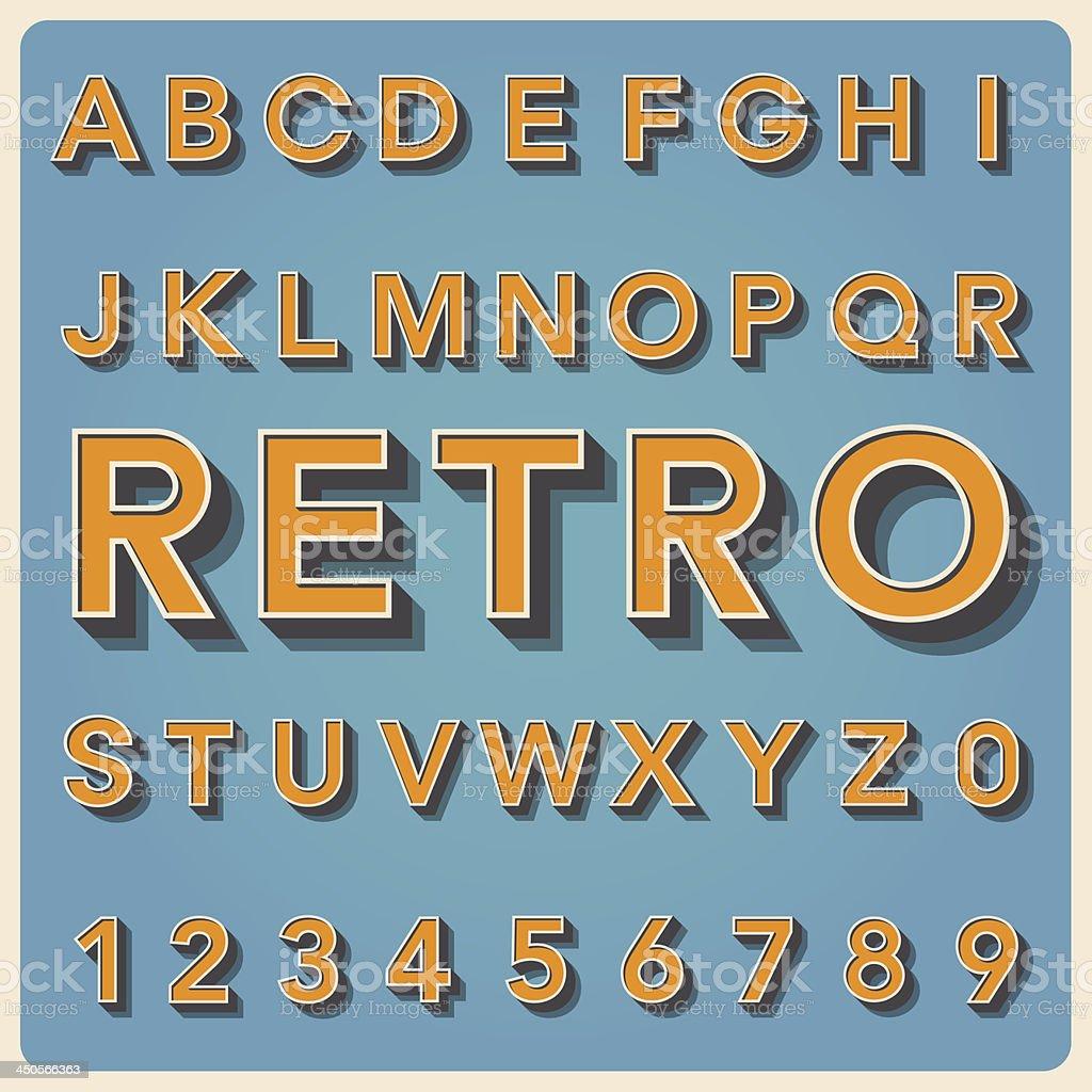 Retro type font, vintage typography vector art illustration