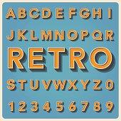 Retro type font, vintage typography