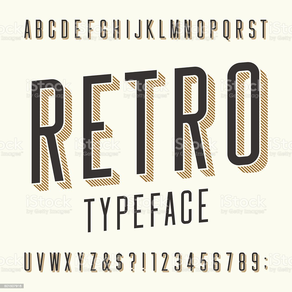 Retro typeface. Letters, numbers and symbols. vector art illustration