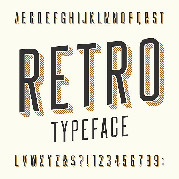 retro typeface. letters, numbers and symbols. - retro fonts stock illustrations, clip art, cartoons, & icons