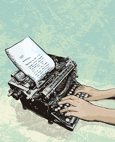 Retro typewriter with letter and hands