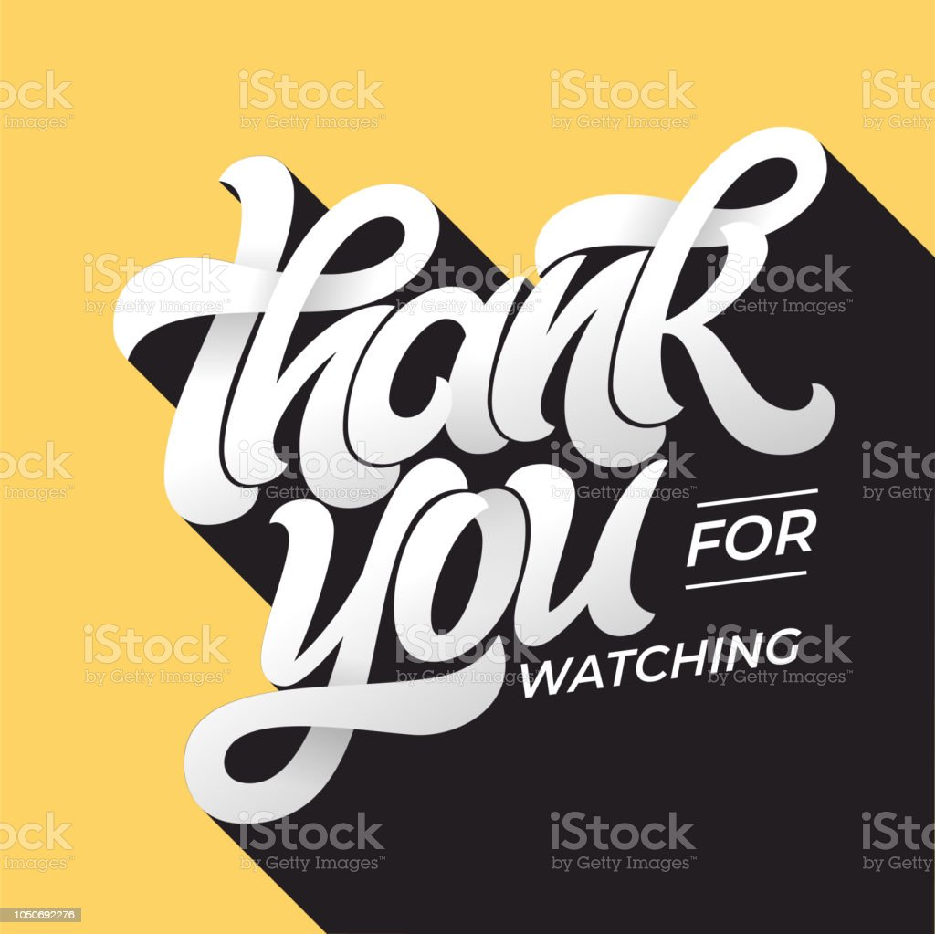 THANK YOU FOR WATCHING retro typography. Lettering in flat style with long shadow in vintage colors. Editable vector template for banner, poster, message, post. Vector illustration. - Векторная графика Mаркетинг в социальных сетях роялти-фри