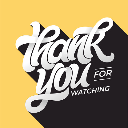 THANK YOU FOR WATCHING retro typography. Lettering in flat style with long shadow in vintage colors. Editable vector template for banner, poster, message, post. Vector illustration.