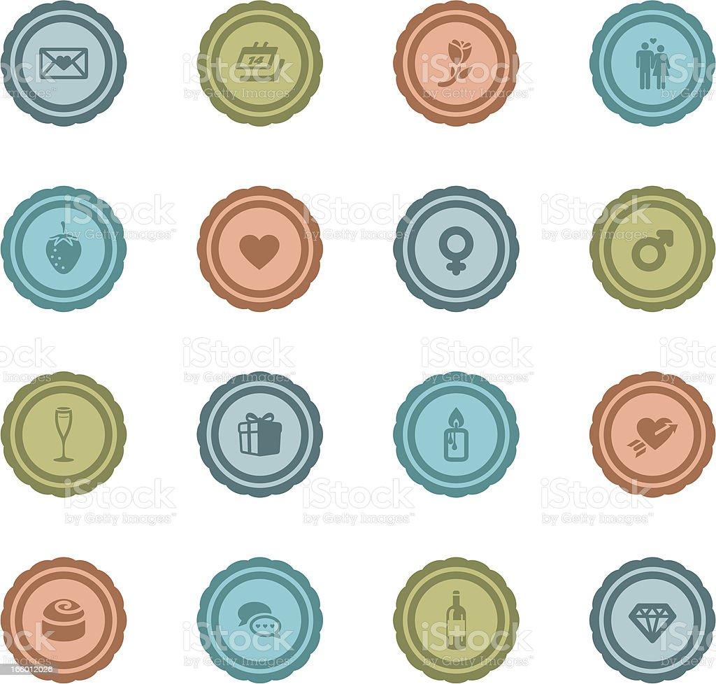 Retro Valentine Badges vector art illustration