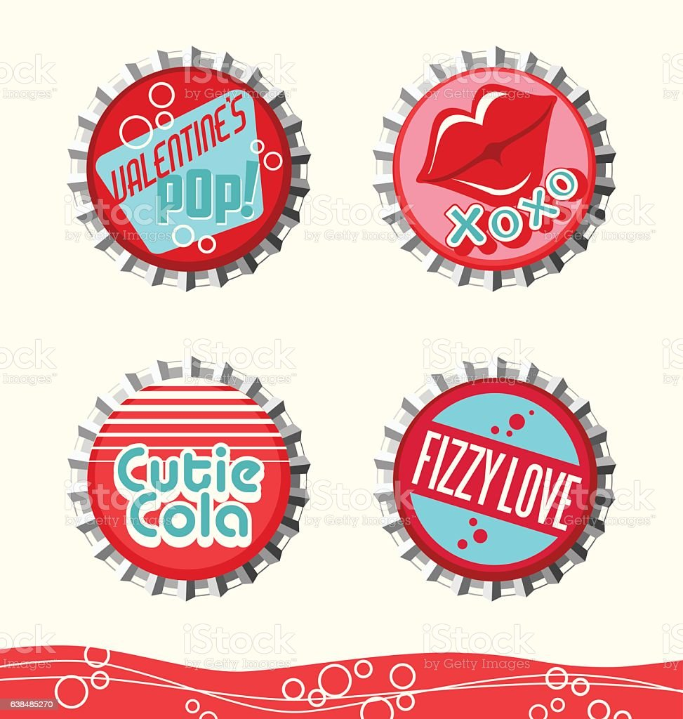 retro valentine's day bottle caps for gift tags, stickers, decorations