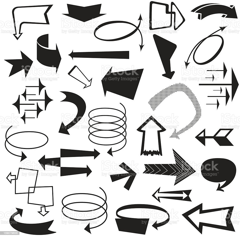 Retro Vector Arrows and Pointers royalty-free stock vector art