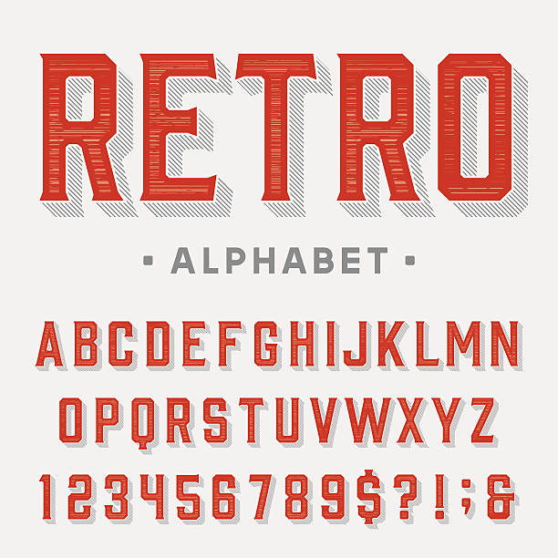 stockillustraties, clipart, cartoons en iconen met retro vector font. - borden en symbolen