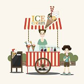 Retro vector ice cream cart. Ice cream seller and children. Vector