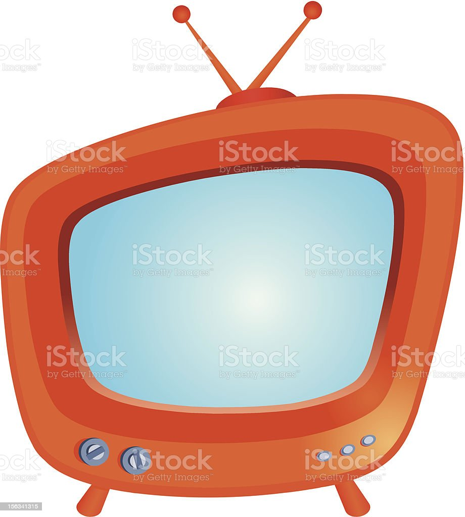 A retro vector illustration of an orange TV set royalty-free stock vector art