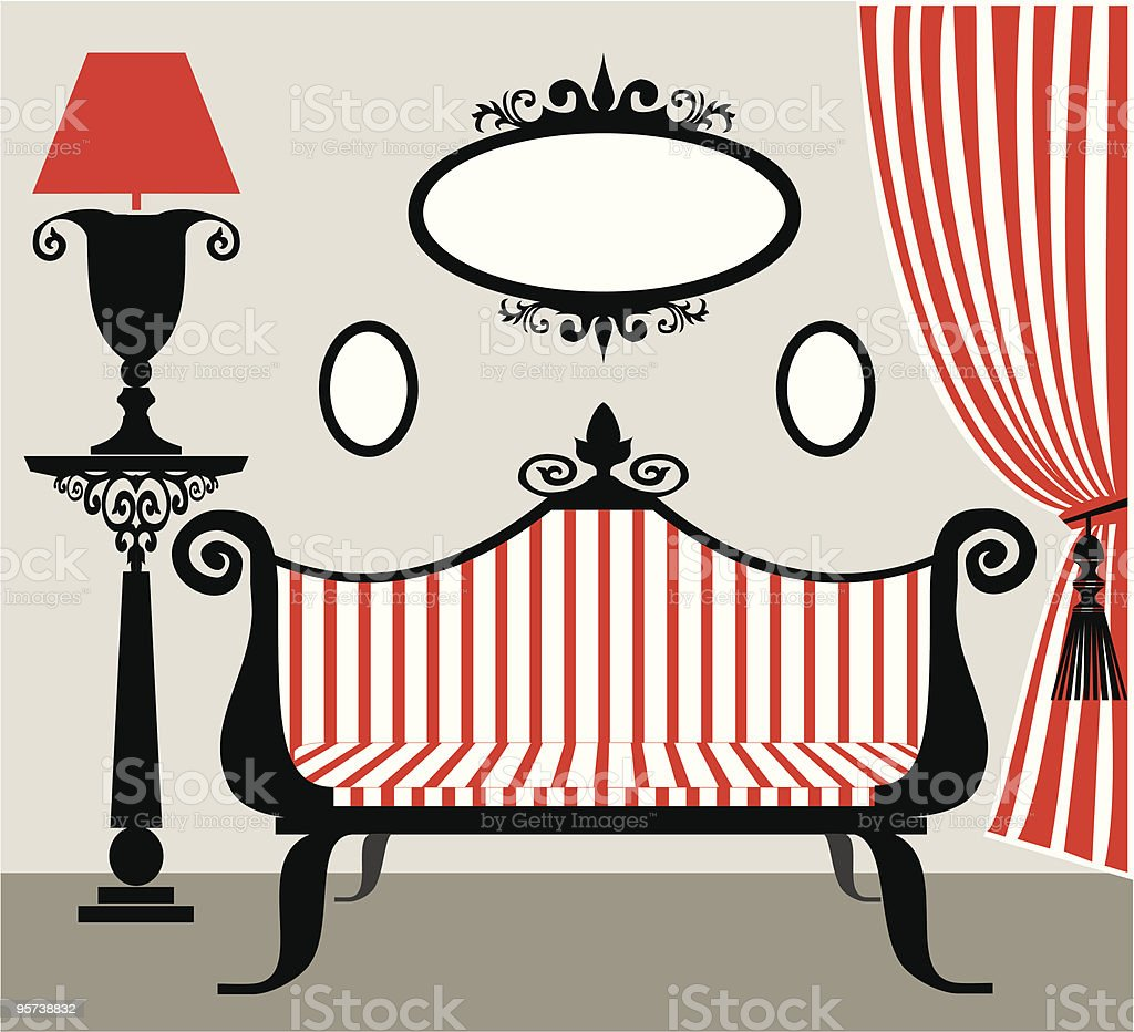 Retro vector interior in black and red vector art illustration