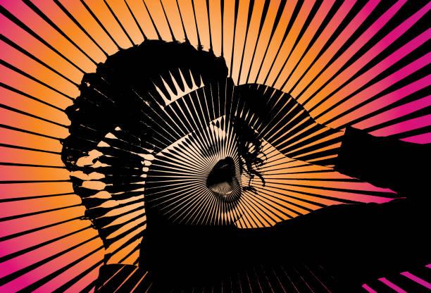若い女性と仮想現実シミュレータのレトロなベクトル - wow点のイラスト素材/クリップアート素材/マンガ素材/アイコン素材