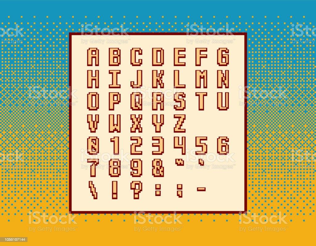 レトロなベクトル ピクセル ビデオ ゲームのフォント - シンボル、文字と背景のディザリングの上数字 ベクターアートイラスト