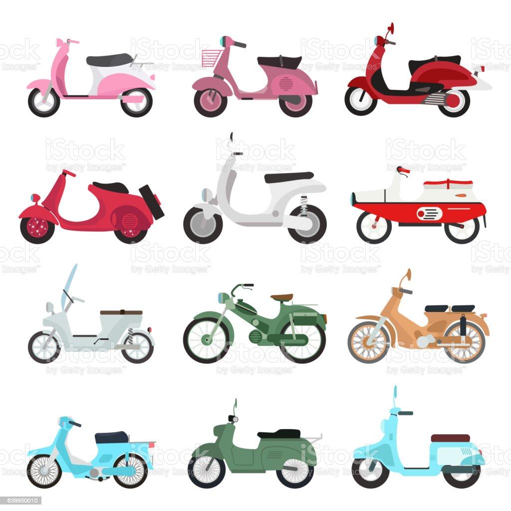 Retro vector scooter illustration. vector art illustration
