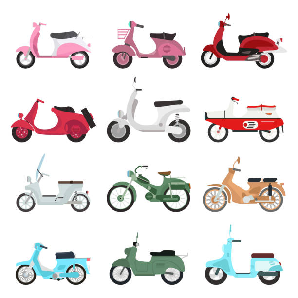 retro vector scooter illustration. - moped stock-grafiken, -clipart, -cartoons und -symbole