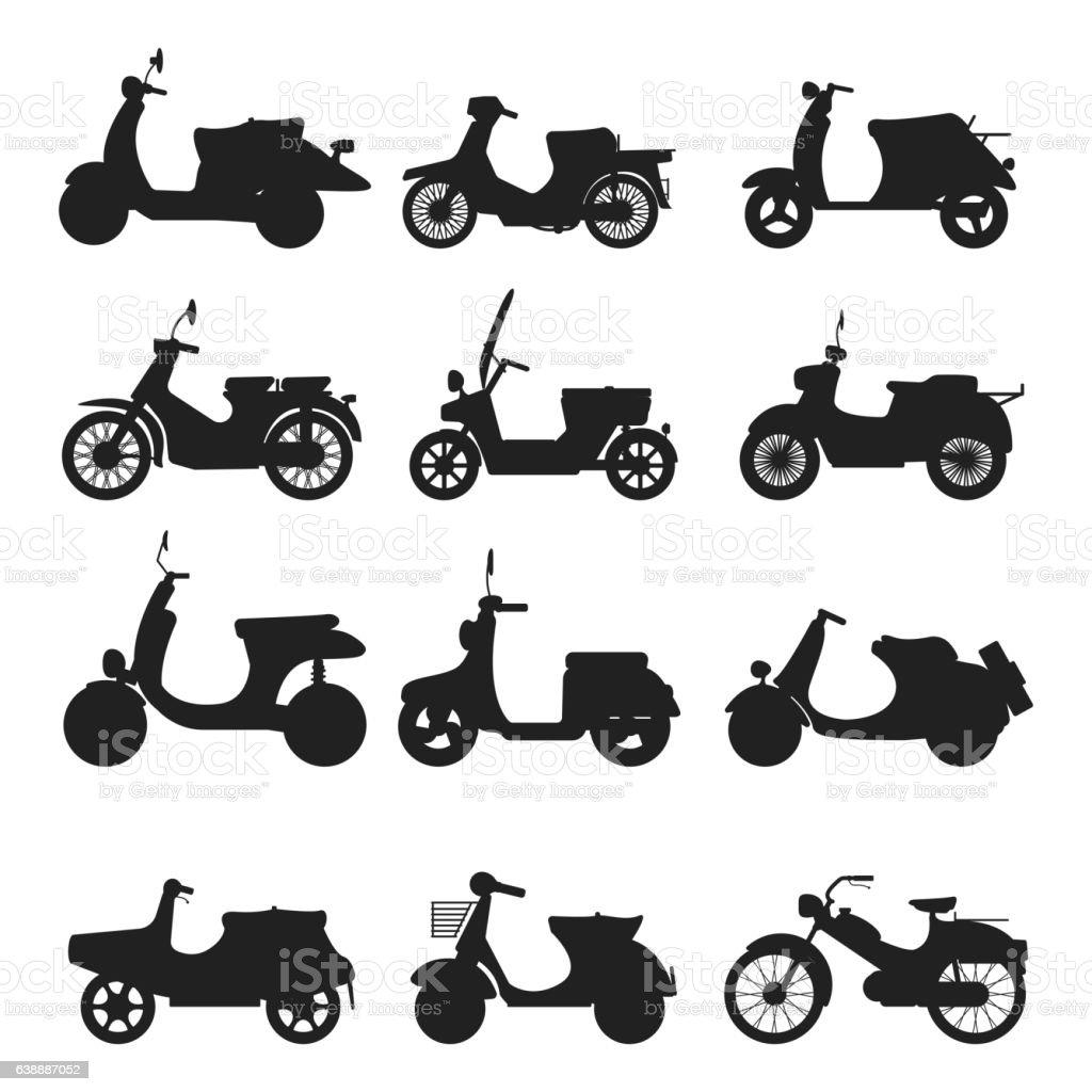 Retro vector scooter silhouette illustration. vector art illustration