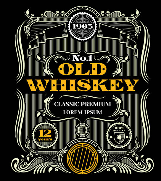 retro victorian whiskey vector label - alcohol drink borders stock illustrations