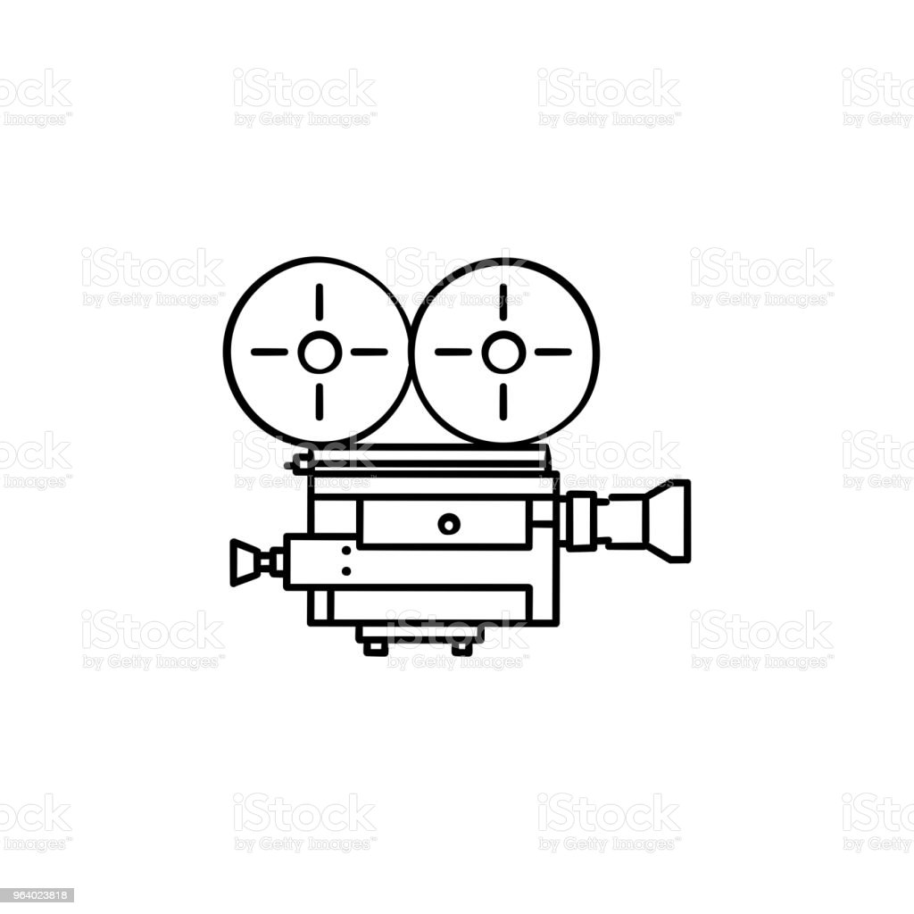 Retro video camera hand drawn outline doodle icon - Royalty-free Analog stock vector