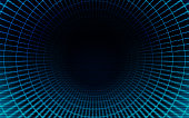 Abstract background video game warp tunnel warping with scanlines with space for copy.