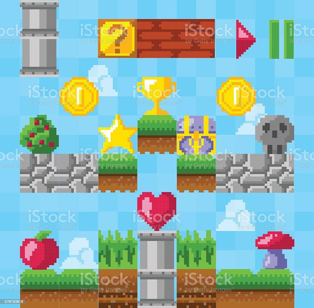 Retro video platform game elements vector art illustration