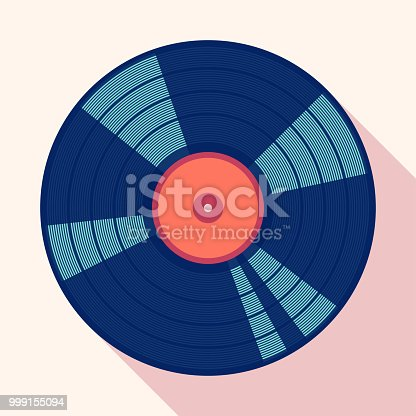 Vinyl gramophone record. Flat vector cartoon illustration. Objects isolated on a white background.
