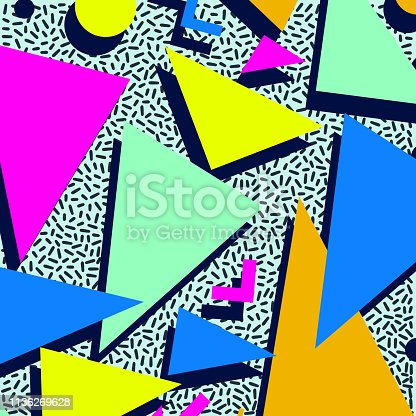 Retro vintage 80s or 90s fashion style abstract pattern background. Good for textile fabric design, wrapping paper and website wallpapers. Vector illustration.