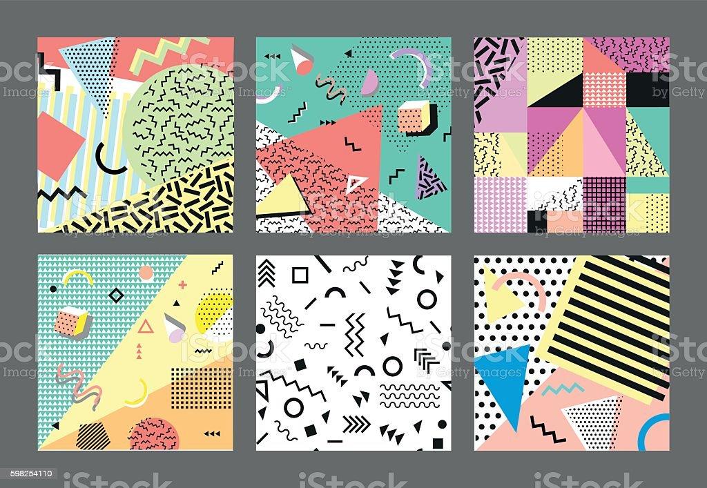 Retro vintage 80s or 90s fashion style. cards. Big vector art illustration