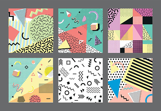 retro vintage 80s or 90s fashion style. cards. big - ブラシ点のイラスト素材/クリップアート素材/マンガ素材/アイコン素材