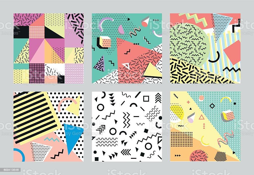 Retro vintage 80s or 90s fashion style. cards. Big - ilustración de arte vectorial