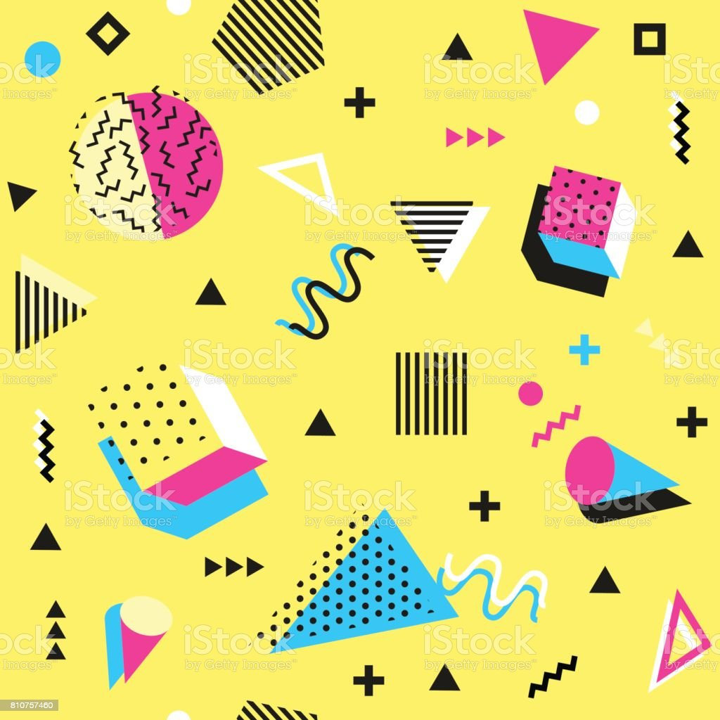 Retro vintage 80s or 90s fashion style. seamless pattern. Trendy geometric elements. Modern abstract design. Good for textile fabric. Vector. vector art illustration