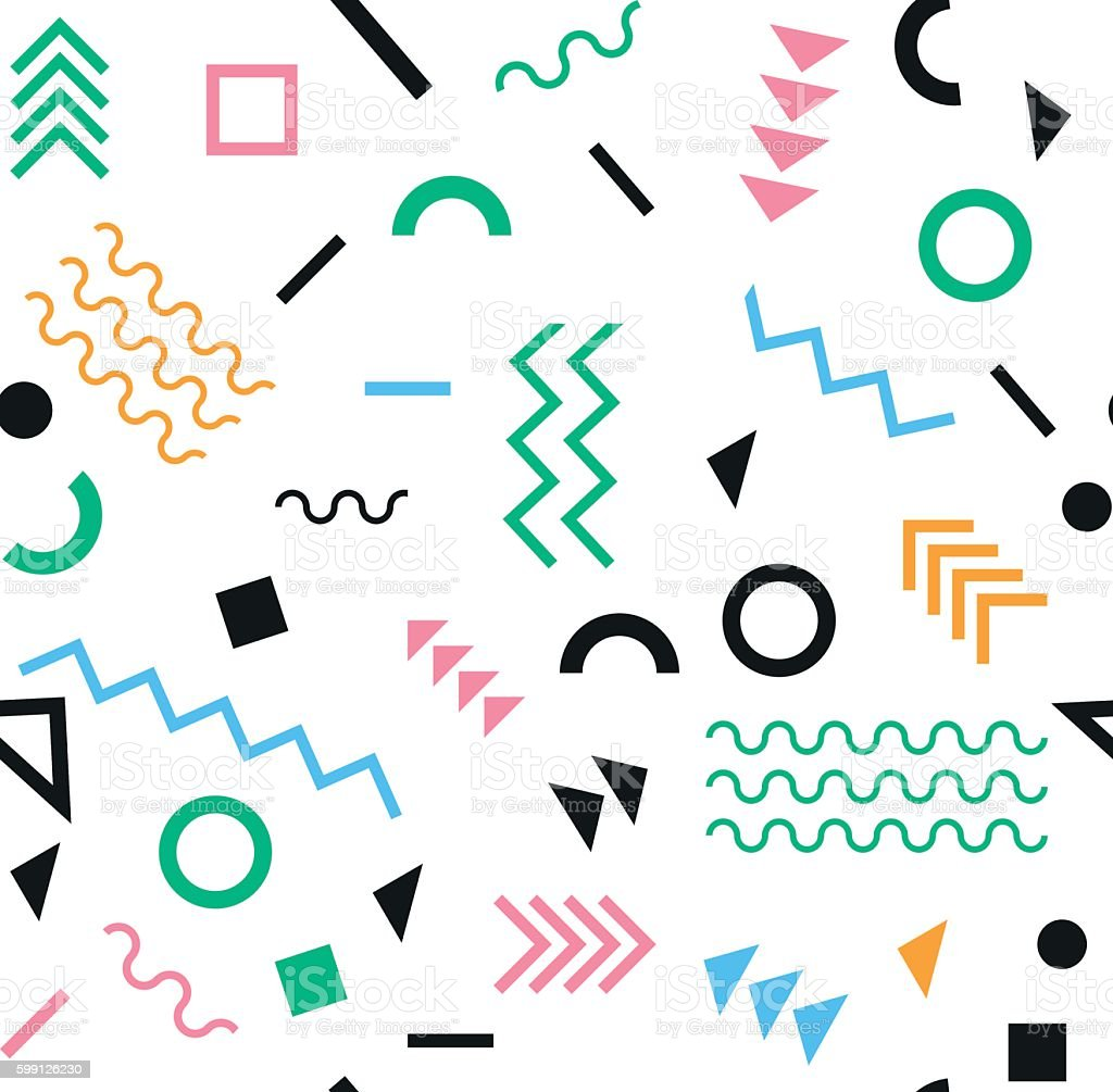Retro vintage 80s or 90s fashion style. seamless pattern vector art illustration