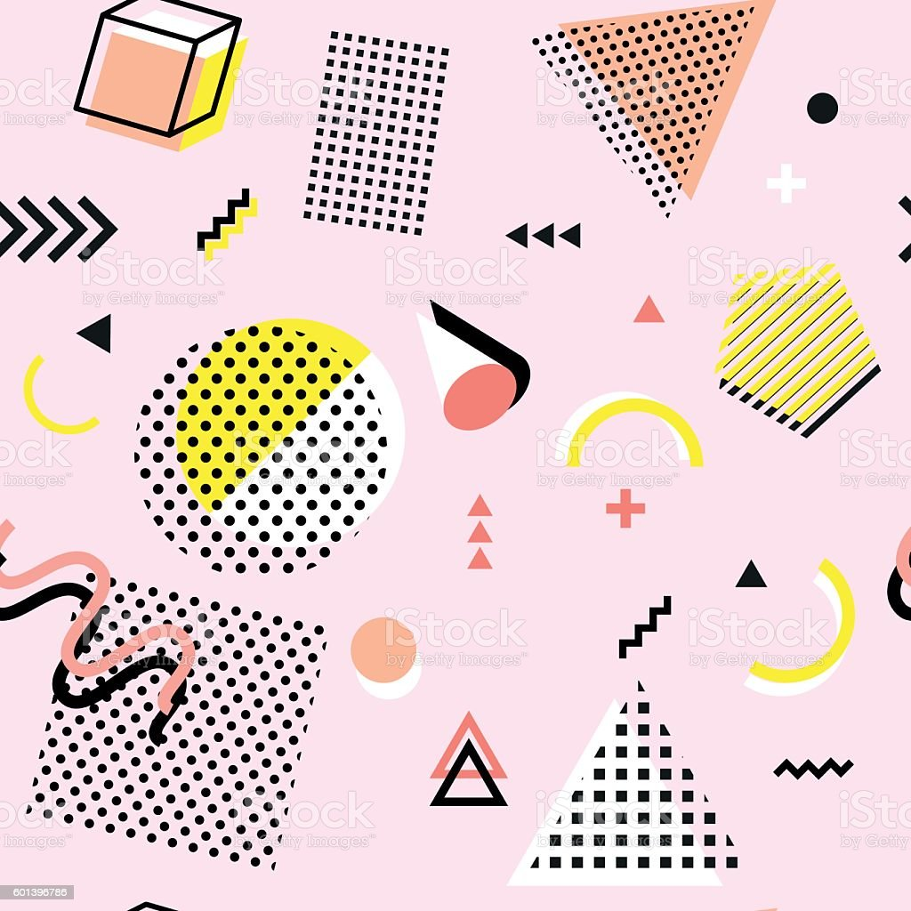 Retro vintage 80s or 90s fashion style. seamless pattern vector art illustration