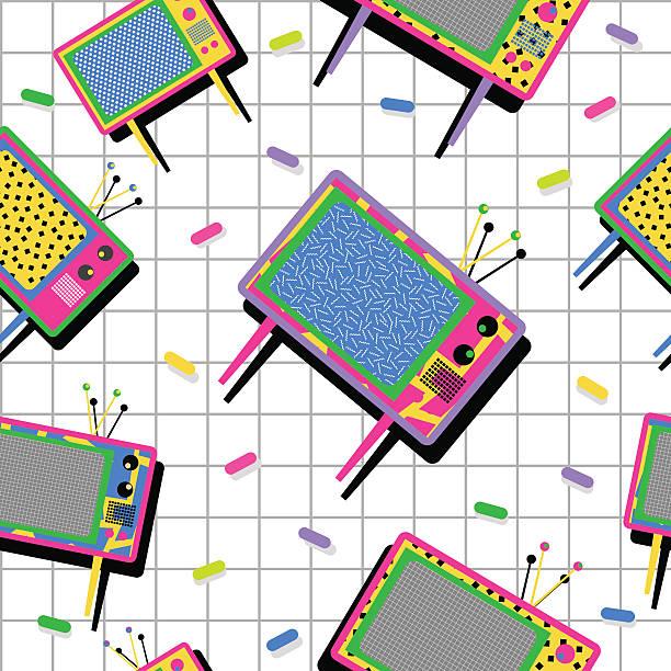 Retro vintage 80s tv seamless pattern background vector art illustration