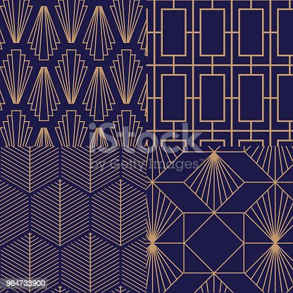 Retro Vintage Art Deco Vector Pattern Stock Vector Art & More Images of Abstract 964733900