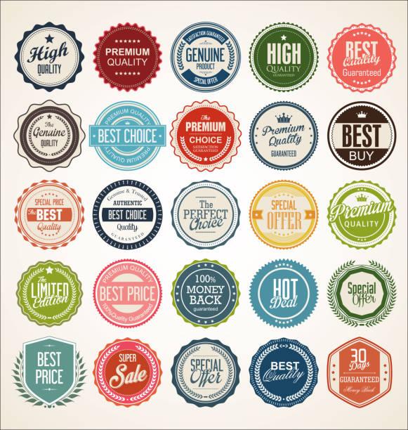 kolekcja odznak i etykiet retro vintage - przypinka stock illustrations
