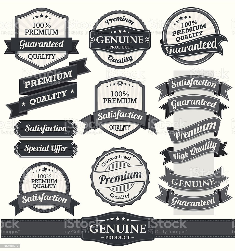 Retro Vintage Badge, Label and Banner vector art illustration