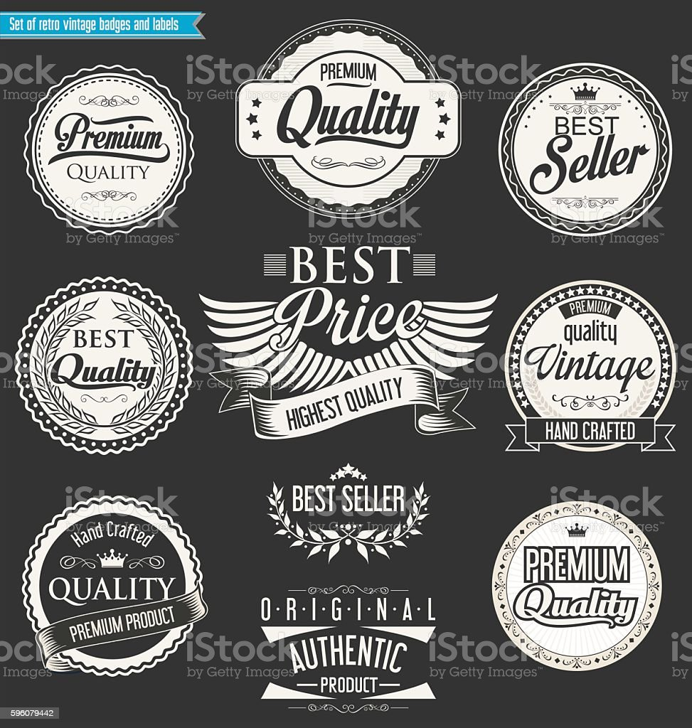 Retro vintage badges and labels collection royalty-free retro vintage badges and labels collection stock vector art & more images of award ribbon