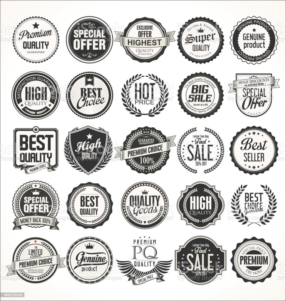 Retro vintage badges and labels collection vector art illustration