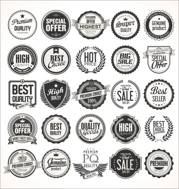 retro vintage badges and labels collection - przypinka stock illustrations