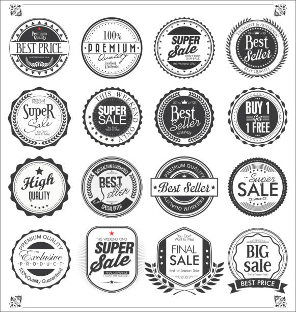 illustrazioni stock, clip art, cartoni animati e icone di tendenza di retro vintage badges and labels collection vector - sigillo timbro
