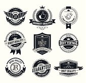 Set of high detail design elements (Retro vintage badges and labels) vector illustration