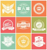 Set of Retro Vintage Badges and Labels, 9 Premium and Highest Quality Labels and Badges in Illustration Vector