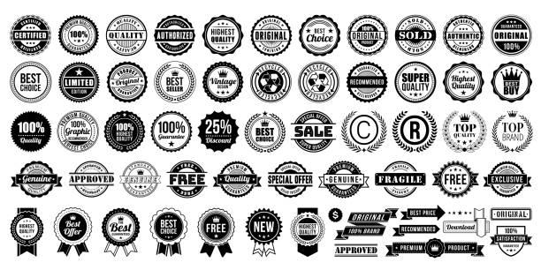 illustrazioni stock, clip art, cartoni animati e icone di tendenza di retro vintage badges collection stock illustration - badge