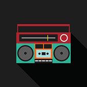 Retro vintage boombox radio flat design vector illustration